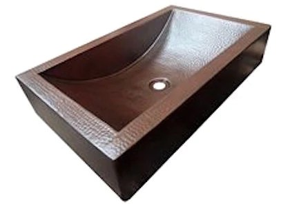 Hammered Copper Trough Vessel Sink Rustic Sinks