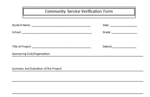 blank community service form template - Antaexpocoaching
