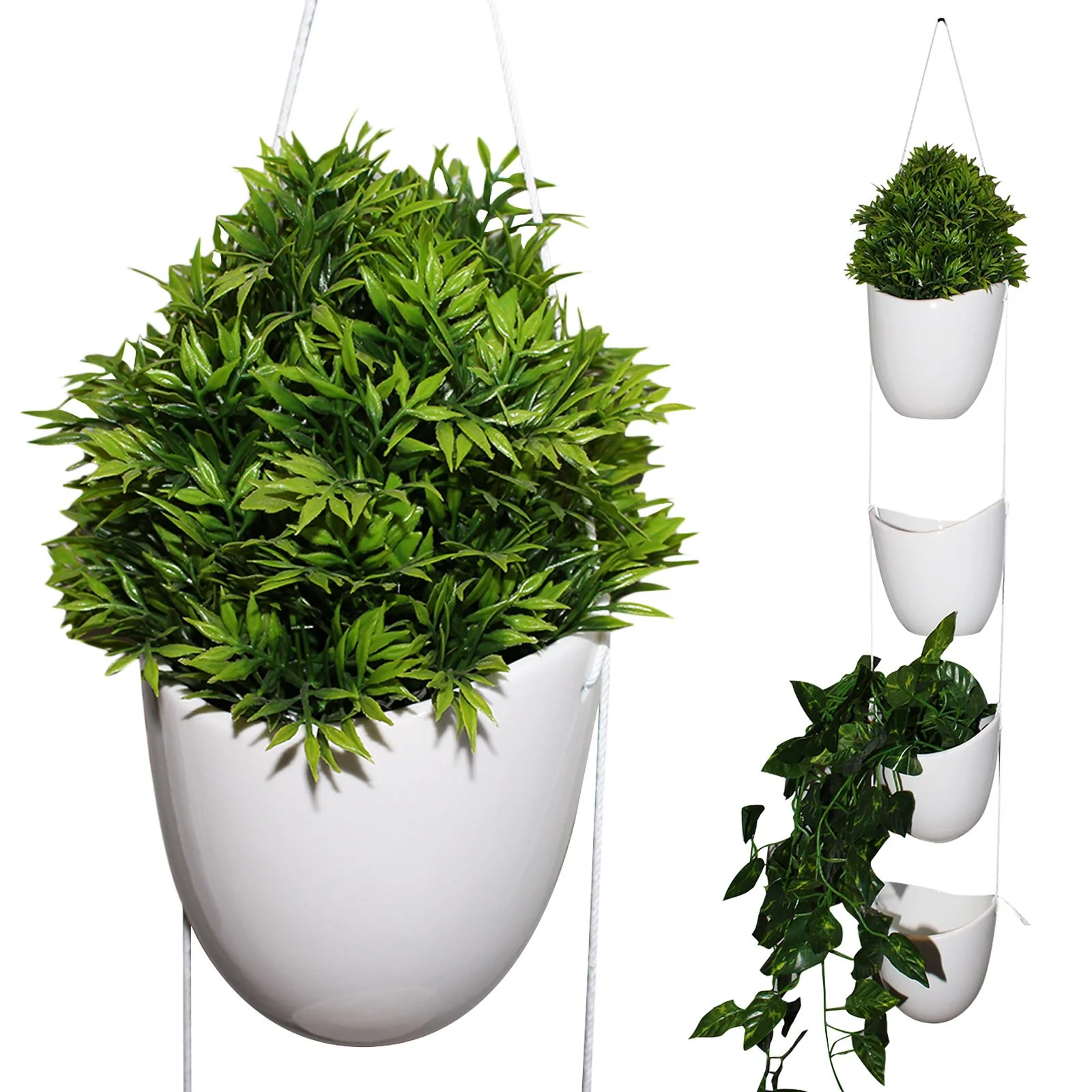 Air Plant Wall Holder Kurtzy 4 Pcs Wall Hanging Planter Air Plant Holder With White Rope Indoor Outdoor Ceramic Planter Flower Pot Vase White Plant Pot For