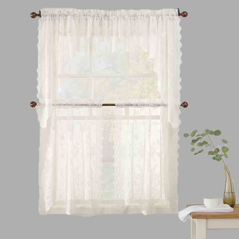 Jacquard Curtains Alison Jacquard Sheer Lace Kitchen Curtain