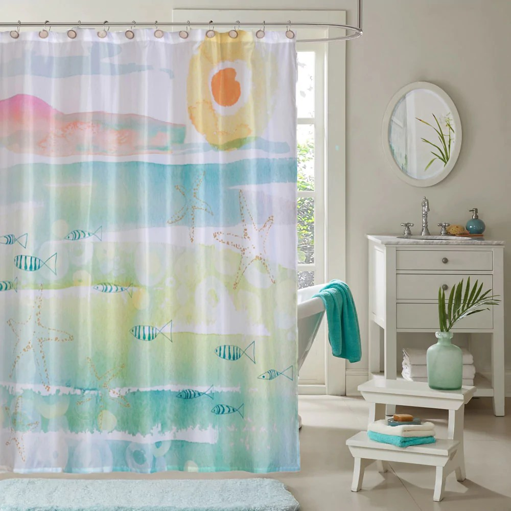 Nautical Fabric Shower Curtains By The Sea Fabric Shower Curtains By Kathy Davis
