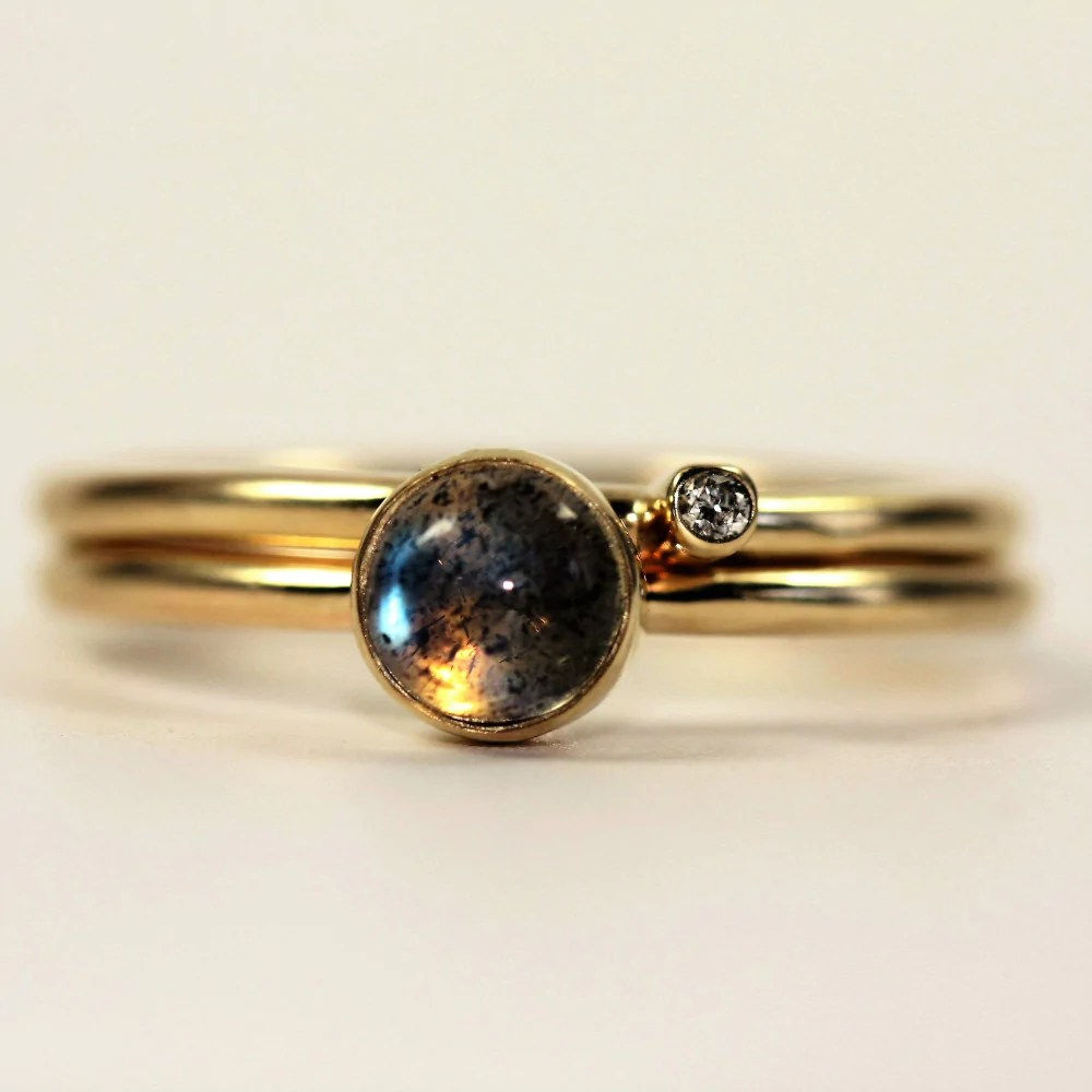 handmade labradorite diamond solid gold stacking rings labradorite wedding ring Handmade Labradorite Diamond Solid Gold Stacking Ring Set