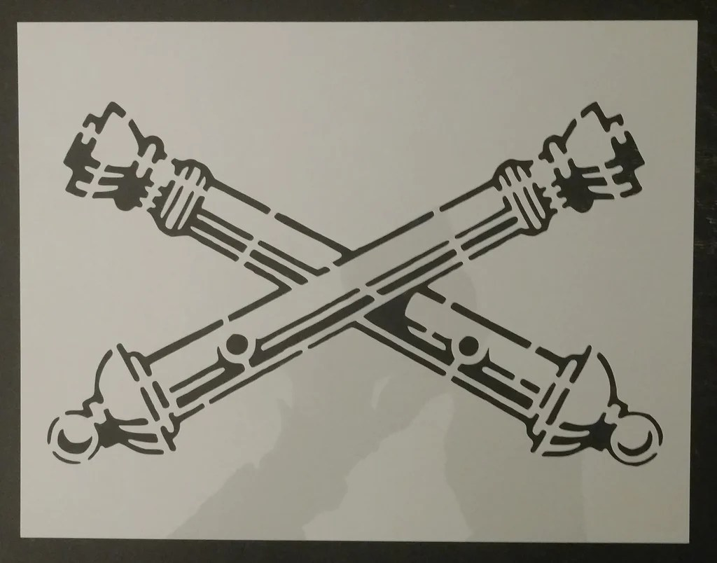 Crossed Cannons Field Artillery Custom Stencil My Custom