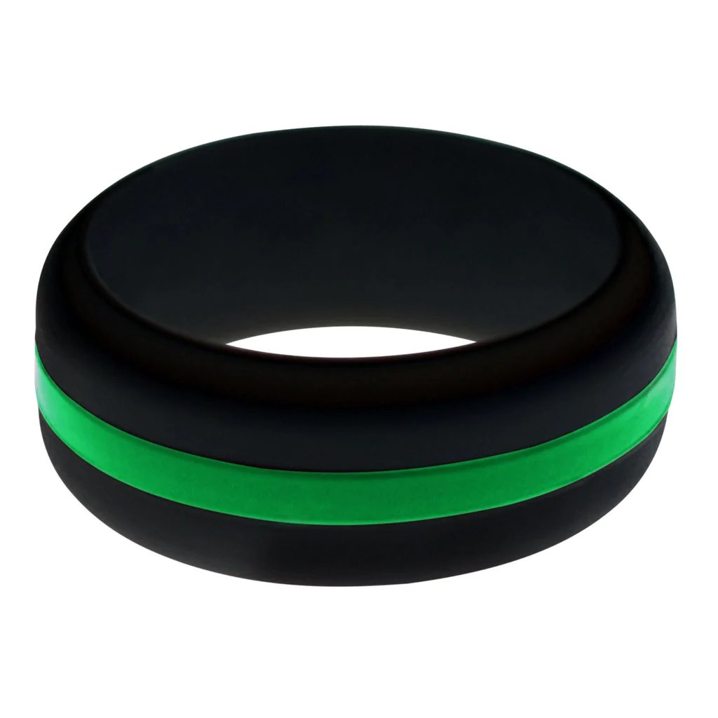 flex ring safety wedding rings Mens Black Silicone Ring with Green Changeable Color Band