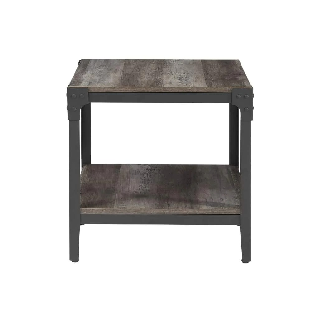 Rustic Wood End Table Angle Iron Rustic Wood End Table Set Of 2 Grey Wash