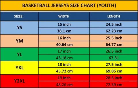 basketball jersey size chart - Heartimpulsar