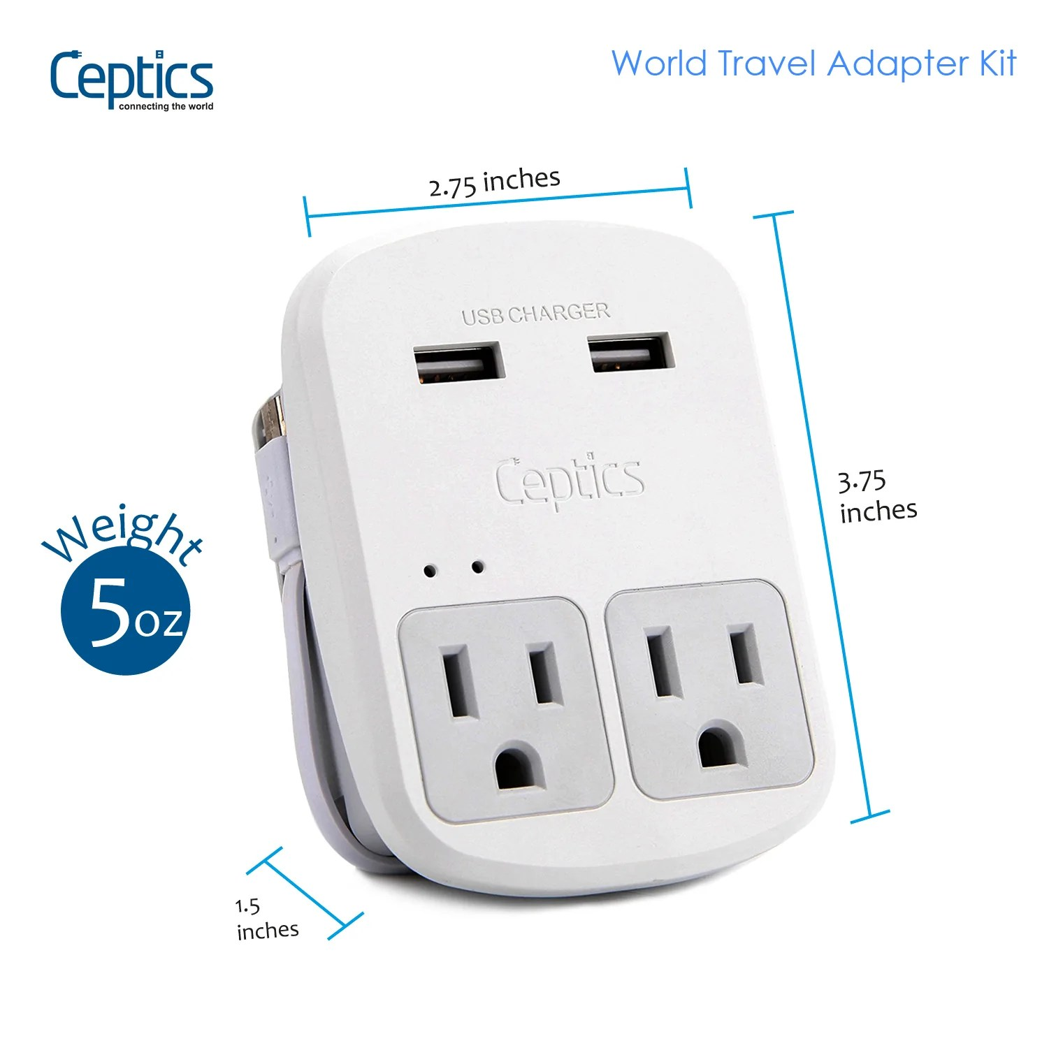Coles Travel Adaptor World Travel Adapter Kit With 2 Usb Ports 2 Outlets Ceptics
