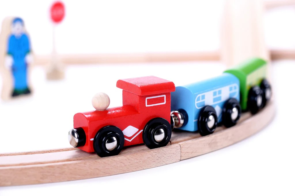 Classic Wooden 30 Piece Train Set Toys For 2 Years Old