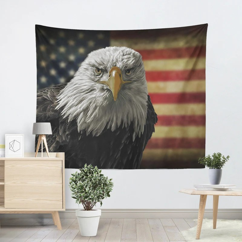 Freedom Retro Sofa Bald Eagle Freedom Tapestry - Canvas Freaks