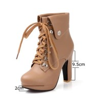 Women Faux Leather Ankle Boots Designer Fashion Platform ...