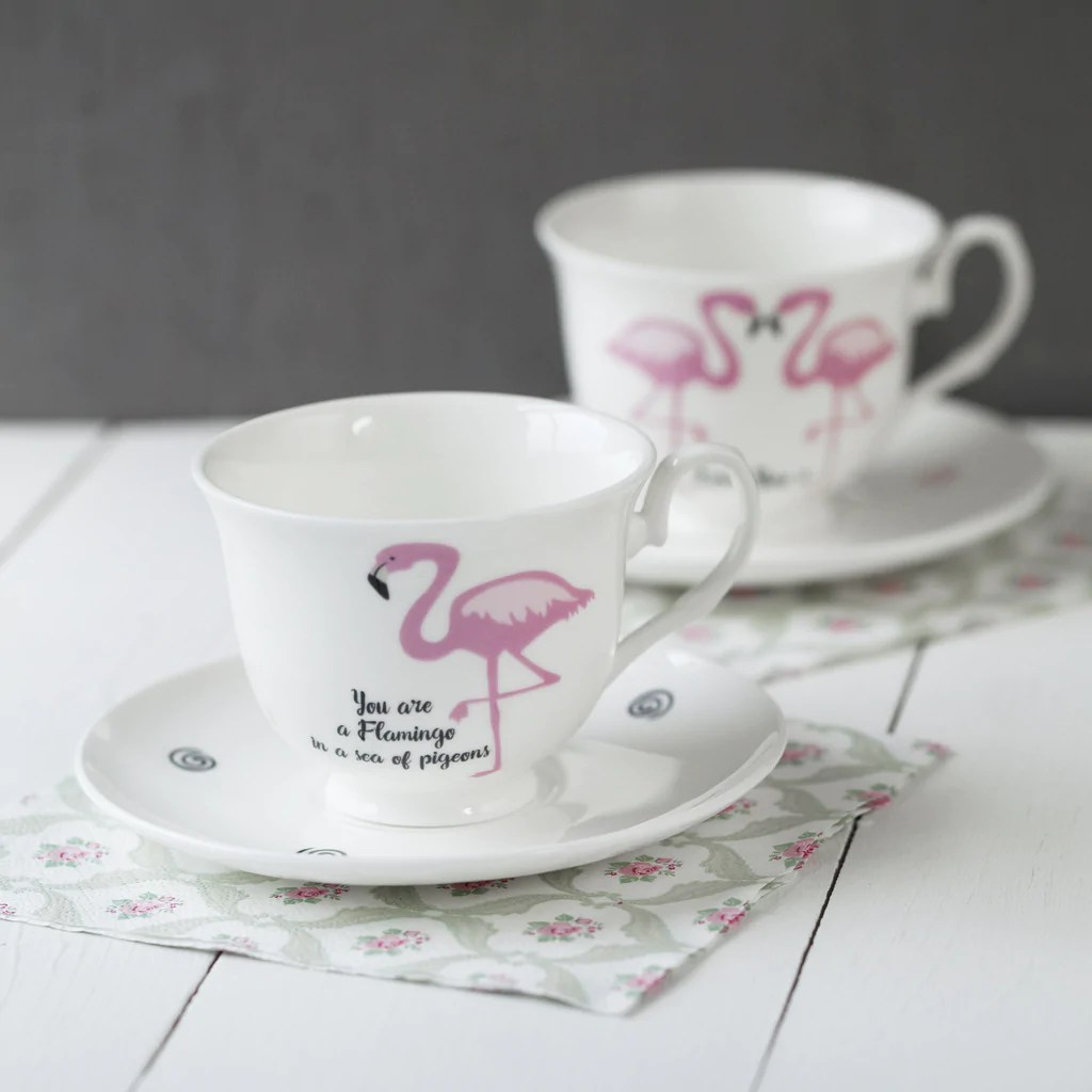 Jolly Message Bone China Cup Saucer View All China Betty Ange Line Tetrault Hidden Animal Teacups Flamingo furniture Hidden Animal Teacups