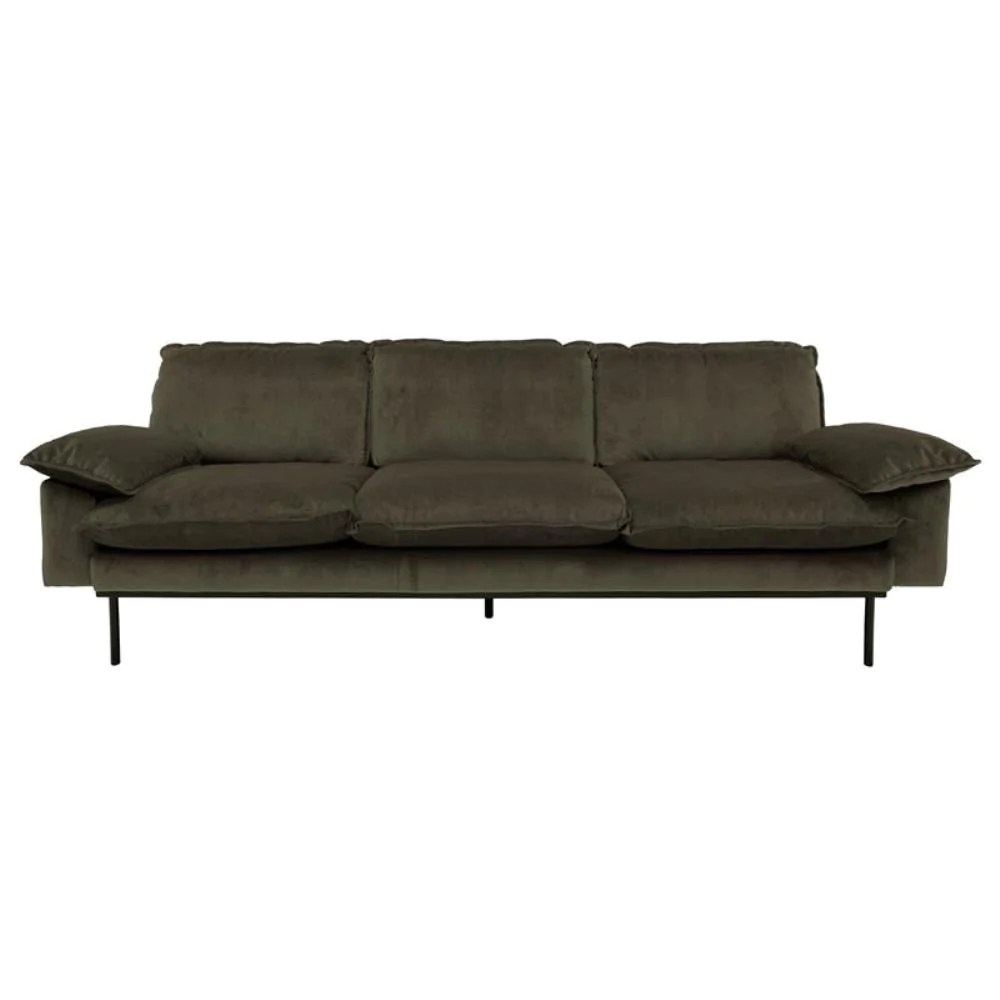 Corduroy 3 Seater Sofa Retro Sofa 3 Seater Hunter