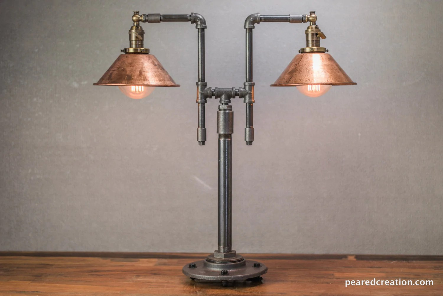Vintage Table Lamps Vintage Table Lamp Industrial Style Iron Piping Copper Shade Steampunk Furniture Rustic Decor