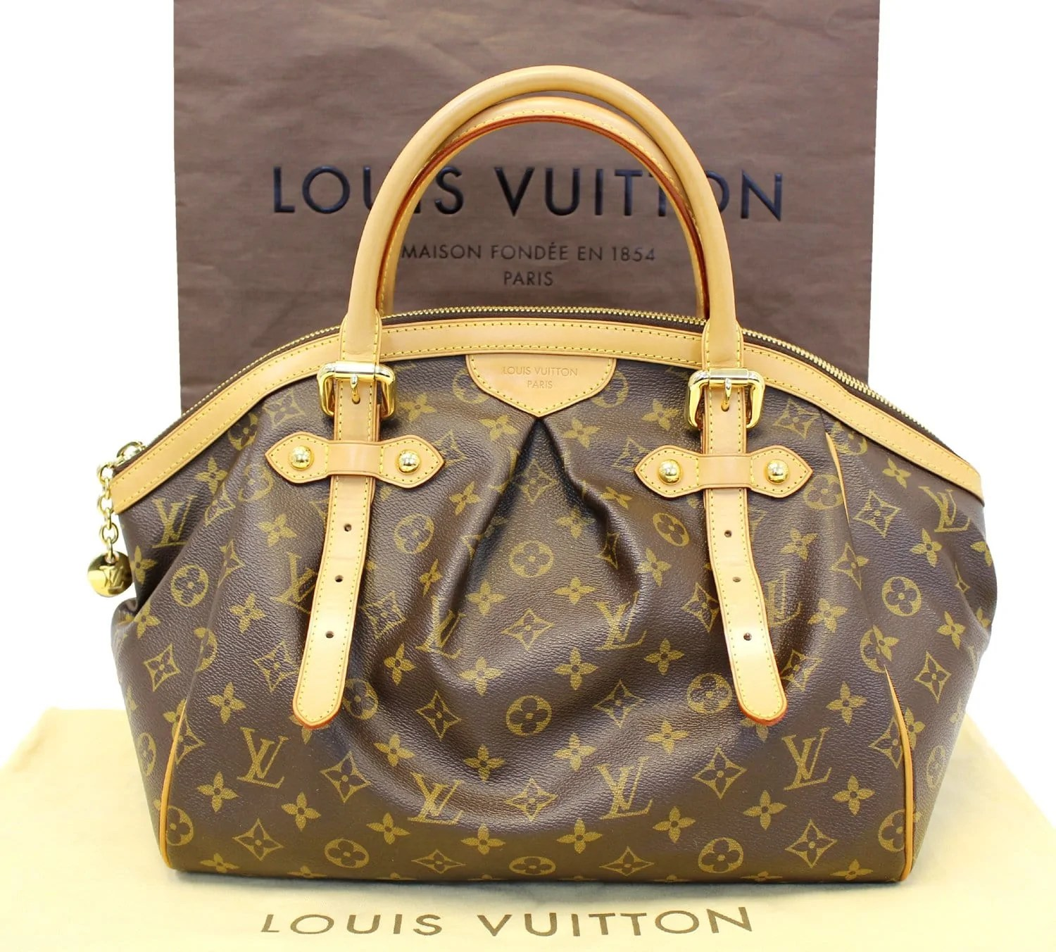 Tivoli Gm Authentic Louis Vuitton Monogram Tivoli Gm Brown Tote Shoulder Bag E38