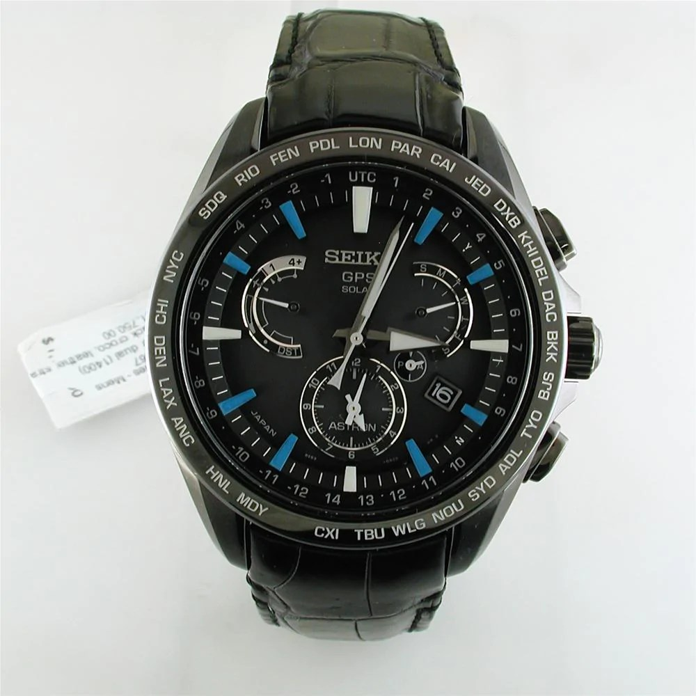 Seiko Astron Seiko Astron Solar Gps Black Blue Watch Limited Edition For Usa 44 6mm Watch Sse067