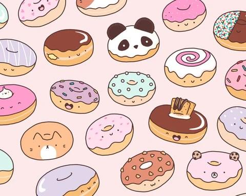 Animal Face Wallpaper Mmm Donuts Kawaii Donut Doodle Art Print Kirakiradoodles