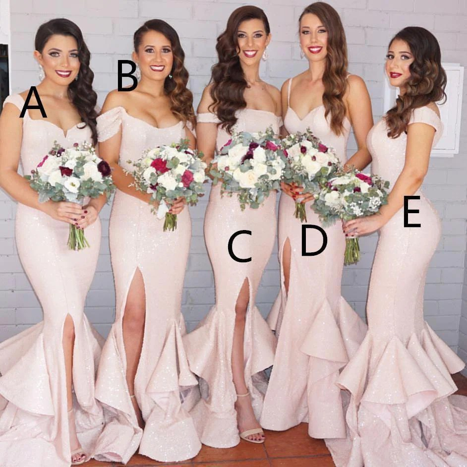 Aweinspiring Mismatched Long Mermaid Blush Pink Side Slit Sequin Bridesmaid Dresses Green Prom Long Prom Beaded Prom Dress Bsbridal Blush Pink Bridesmaid Dresses Blush Pink Bridesmaid Dresses Long wedding dress Blush Pink Bridesmaid Dresses