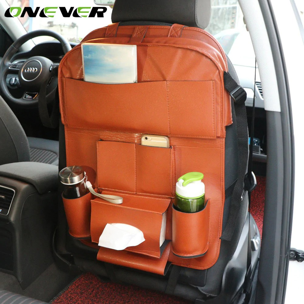 Auto Organizer Tablet Onever Auto Car Seat Back Storage Bag Organizer Car Styling Back Seat Protector Food Tray Table Tablet Holder Multi Function Bag