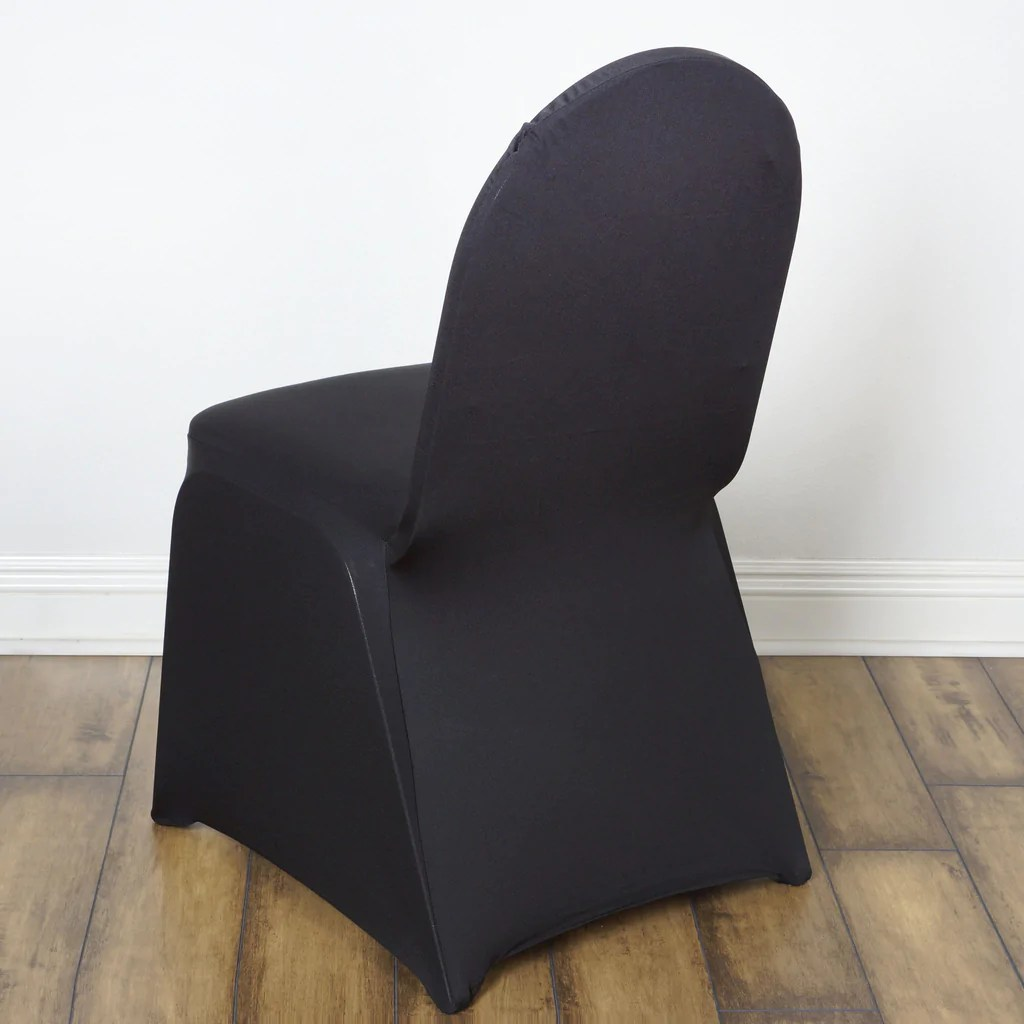 Chair Cover 160gsm Black Stretch Spandex Banquet Chair Cover With Foot Pockets