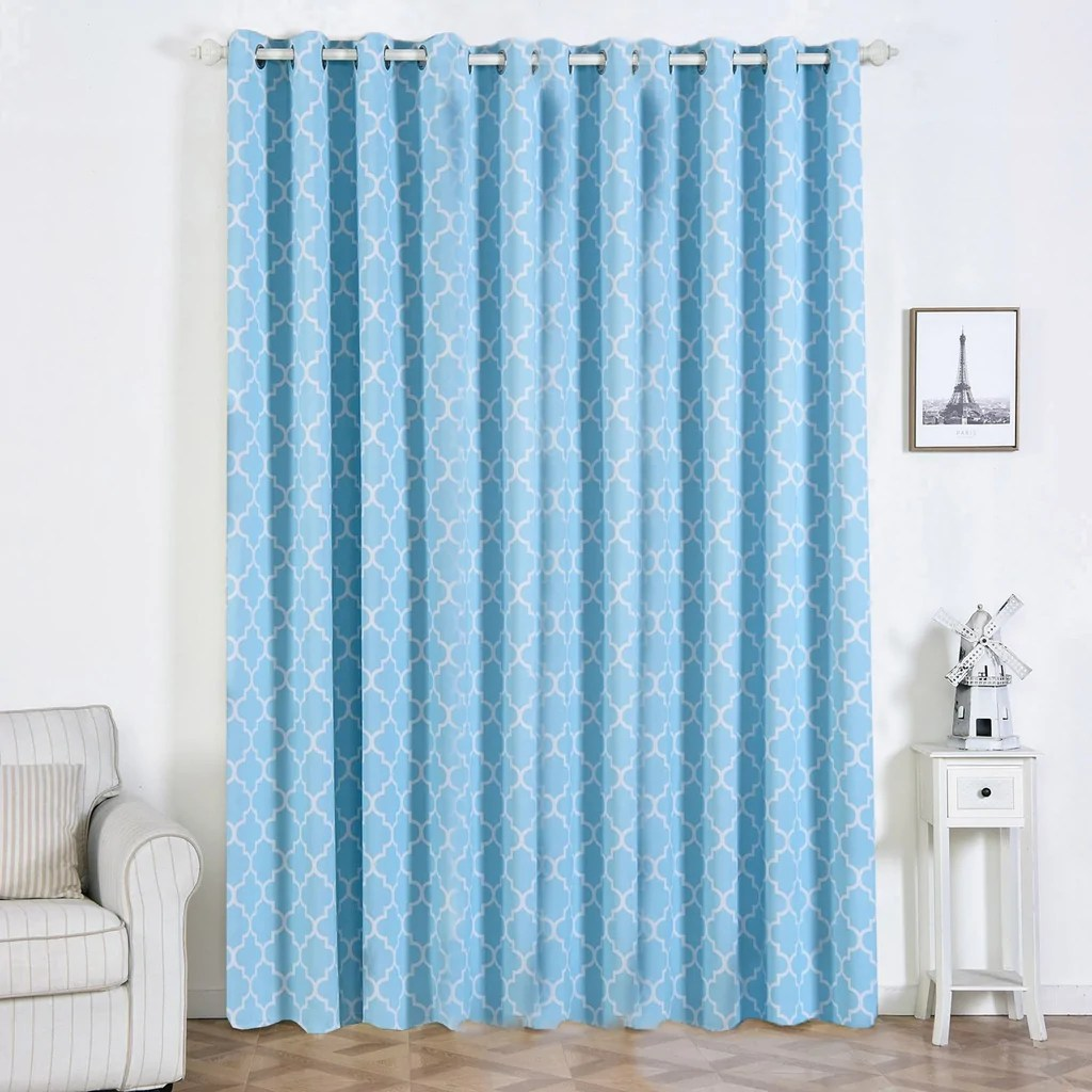 Baby Blue Blackout Curtains 2 Pack 52 Quotx108 Quot Lattice Print Thermal Blackout Curtains