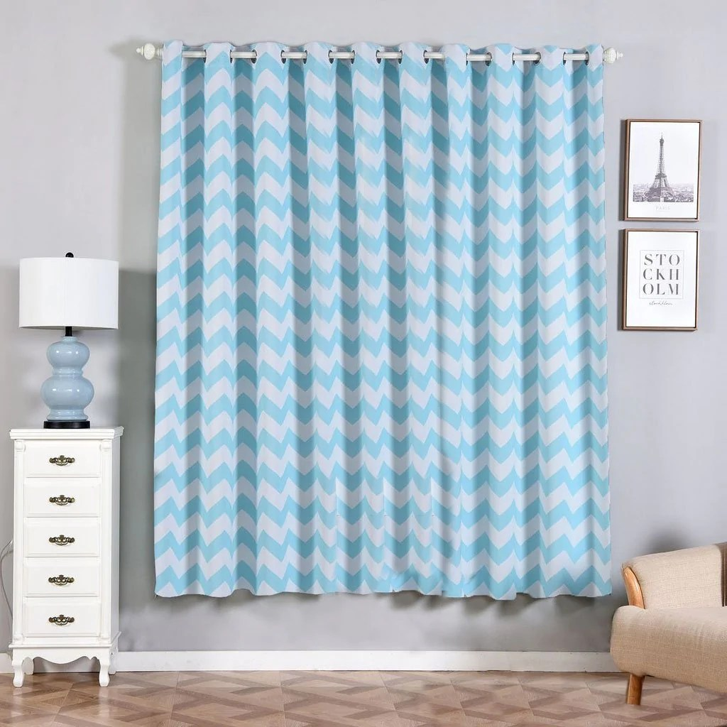 Baby Blue Blackout Curtains 2 Pack 52 Quotx84 Quot Chevron Design Thermal Blackout Curtains