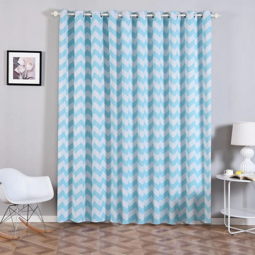 Baby Blue Blackout Curtains 2 Pack 52 Quotx96 Quot Chevron Design Thermal Blackout Curtains