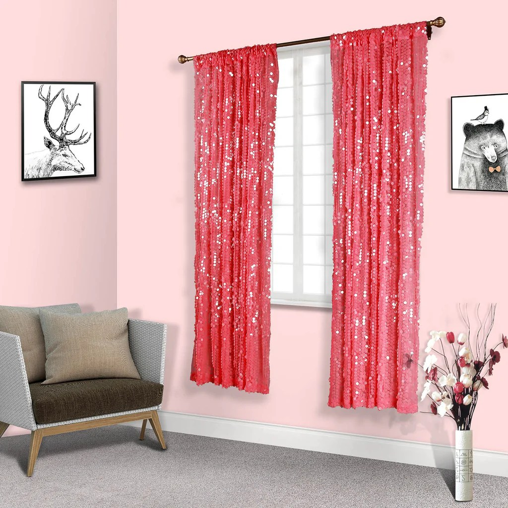 Pink Sequin Curtains 2 Pack 52x96