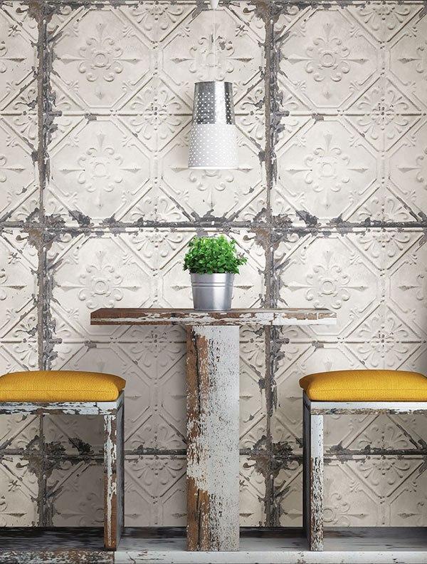 Vintage Tin Tile Peel and Stick Wallpaper