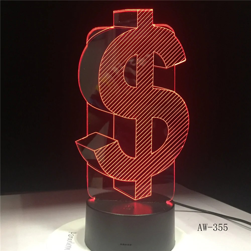 Lighting Originelle 3d Led Lampe Us Dollar Leuchtreklame Wohnlicht Nachtttischlampe Home Furniture Diy Mhg Co Ke