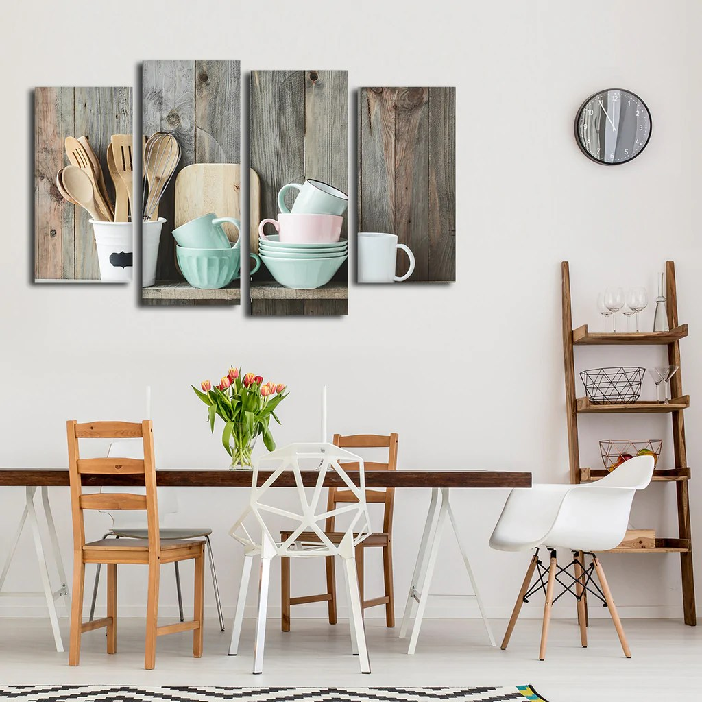 Shabby Chic Shabby Chic Kitchen Multi Panel Canvas Wall Art