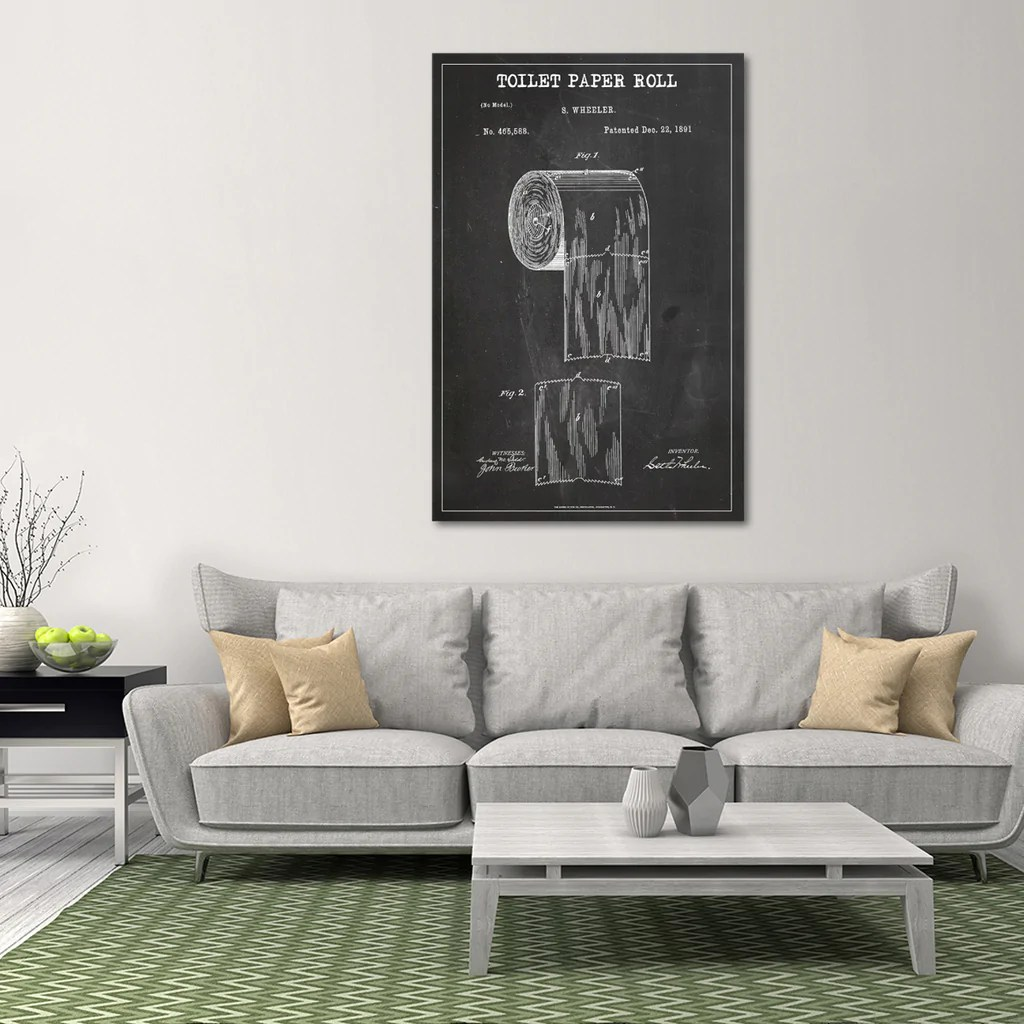 Toilet Wall Art Toilet Paper Roll Patent Bw Canvas Wall Art