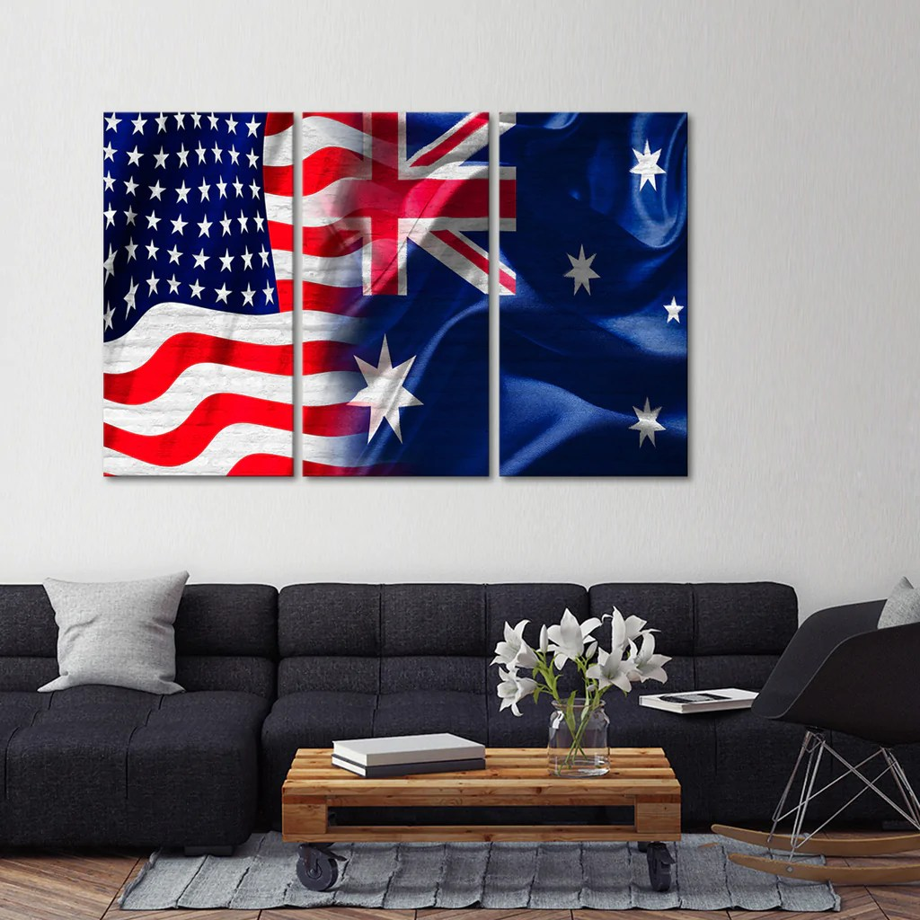 Wall Prints For Living Room Australia Usa And Australia Flag Multi Panel Canvas Wall Art