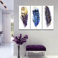 Watercolor Feather Multi Panel Canvas Wall Art | ElephantStock