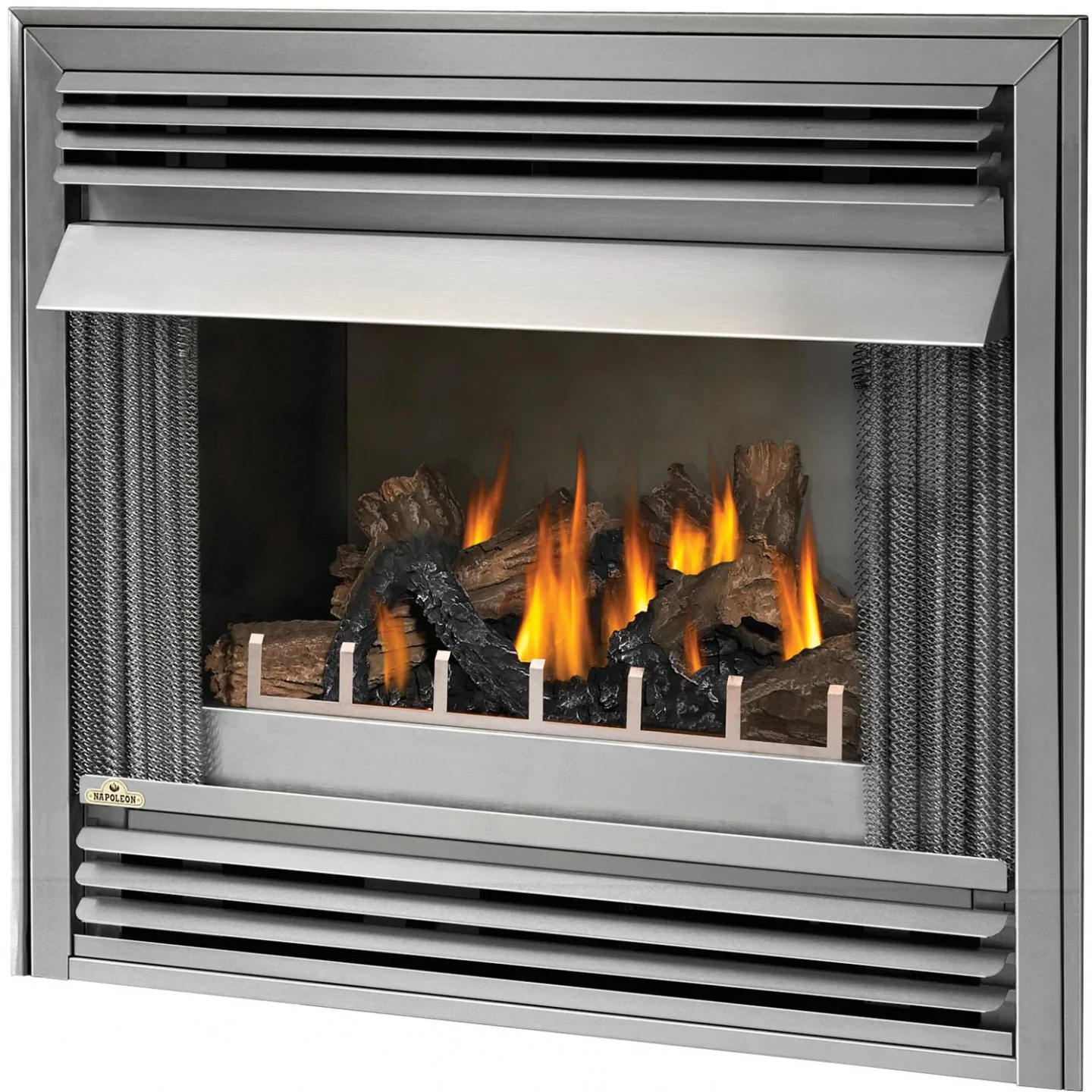 Napoleon Gas Fireplaces Napoleon Riverside 36 Inch Outdoor Built In Propane Gas Fireplace W Millivolt Ignition And Brushed Stainless Steel Louvres Gss36p