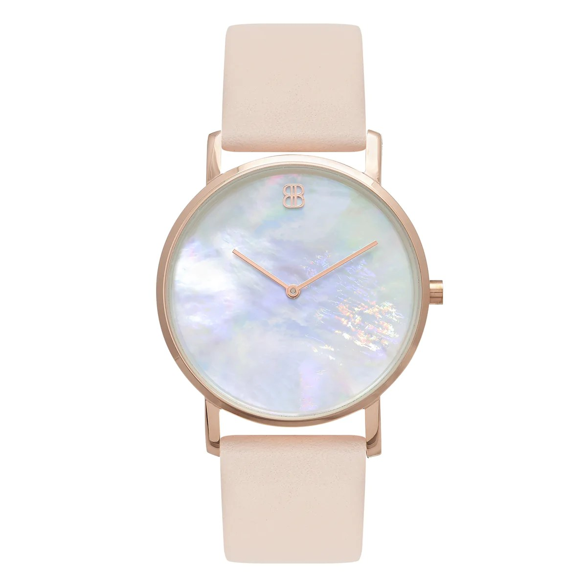 Leather Strap Rose Gold Watch Slim Minimalist Rose Gold Watch Pearl Dial Men S Women S Pink Leather Strap Mark 1 Mayfair 38mm
