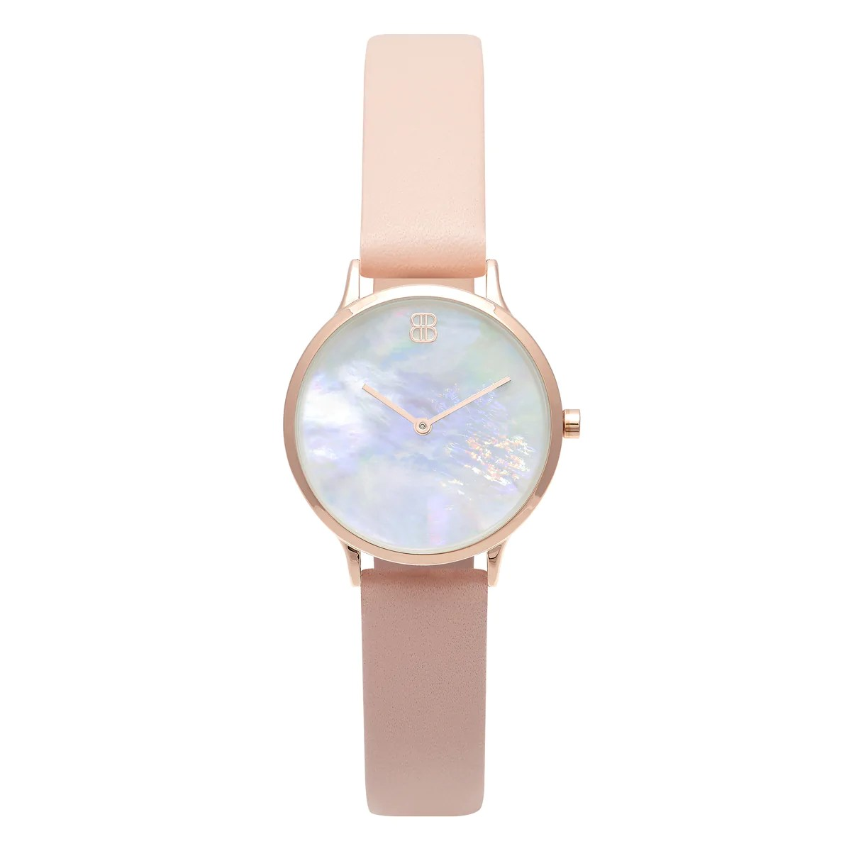 Leather Strap Rose Gold Watch Women S Small Rose Gold Watch White Pearl Dial Pink Leather Strap Mark 5 Mayfair 32mm
