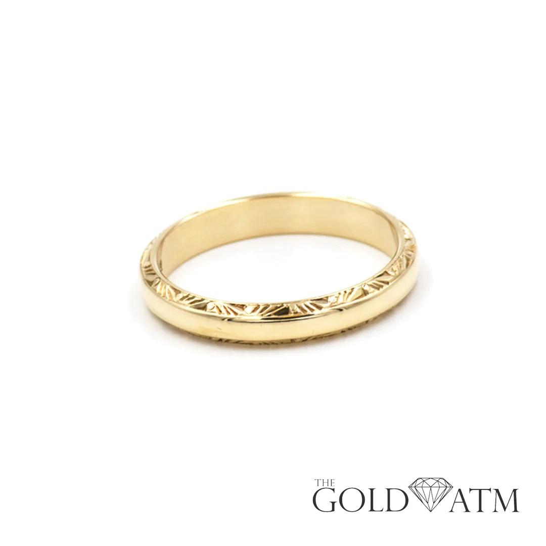 wedding bands 1 keepsake wedding rings Men s 14K Yellow Gold Hand Carved Keepsake Wedding Band