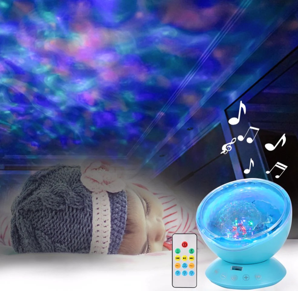 Sleep Music For Kids Ocean Wave Projector Light Sleep Lamp With Built In Music Player Decoration Lamp For Kids Adults Nursery Bedroom