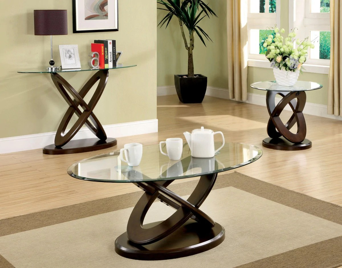 Round Glass Top Coffee Table Furniture Of America Caliyah Round Glass Top Coffee Table Dark Walnut