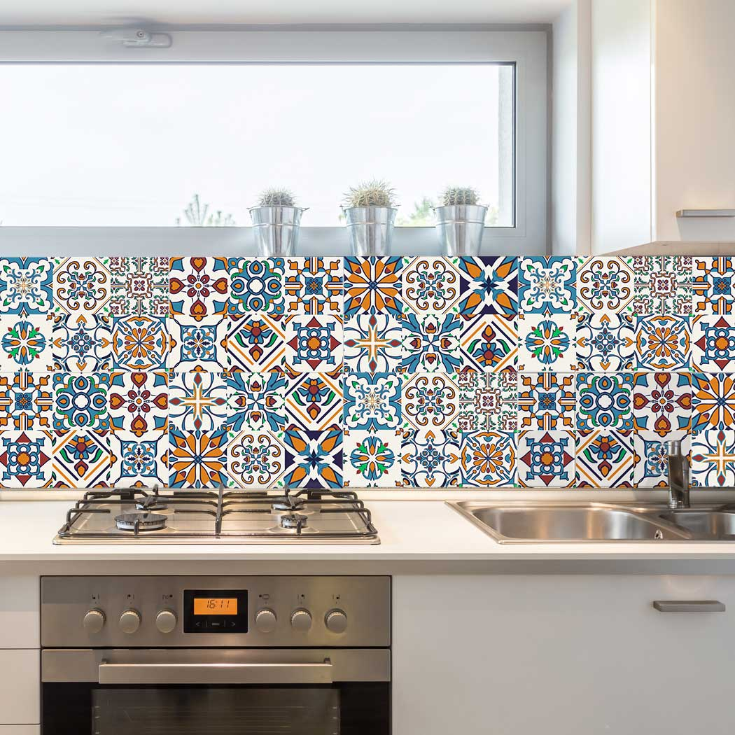 Kitchen Tile Pictures Decorative Tiles Stickers Motril Pack Of 16 Tiles Tile Decals Art For Walls Kitchen
