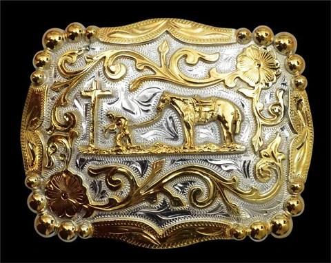 Western Silver Gold Scrolled Praying Cowboy Belt Buckle