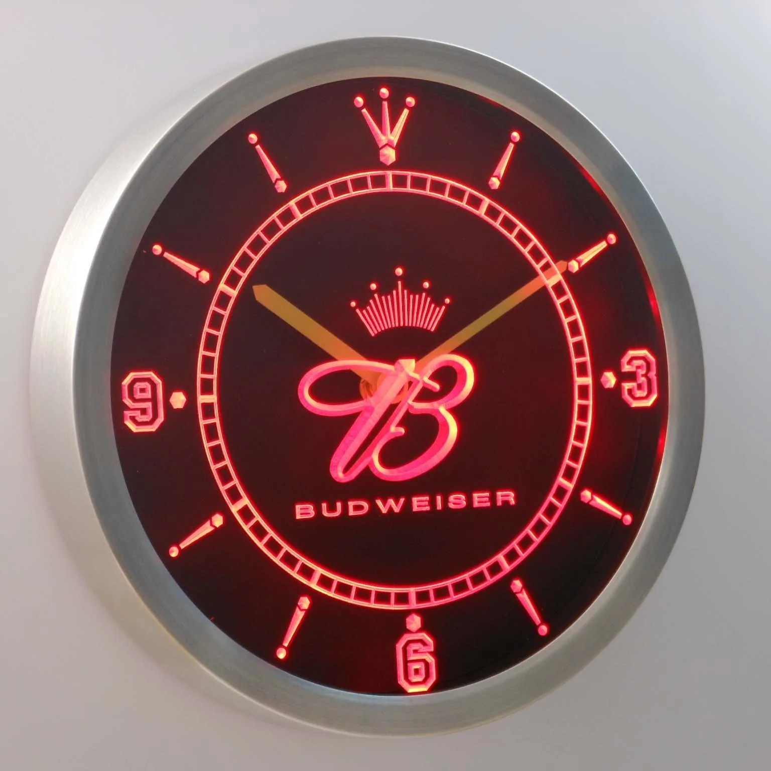 Dropshipping Decoration Budweiser Crowned B Led Neon Wall Clock Safespecial