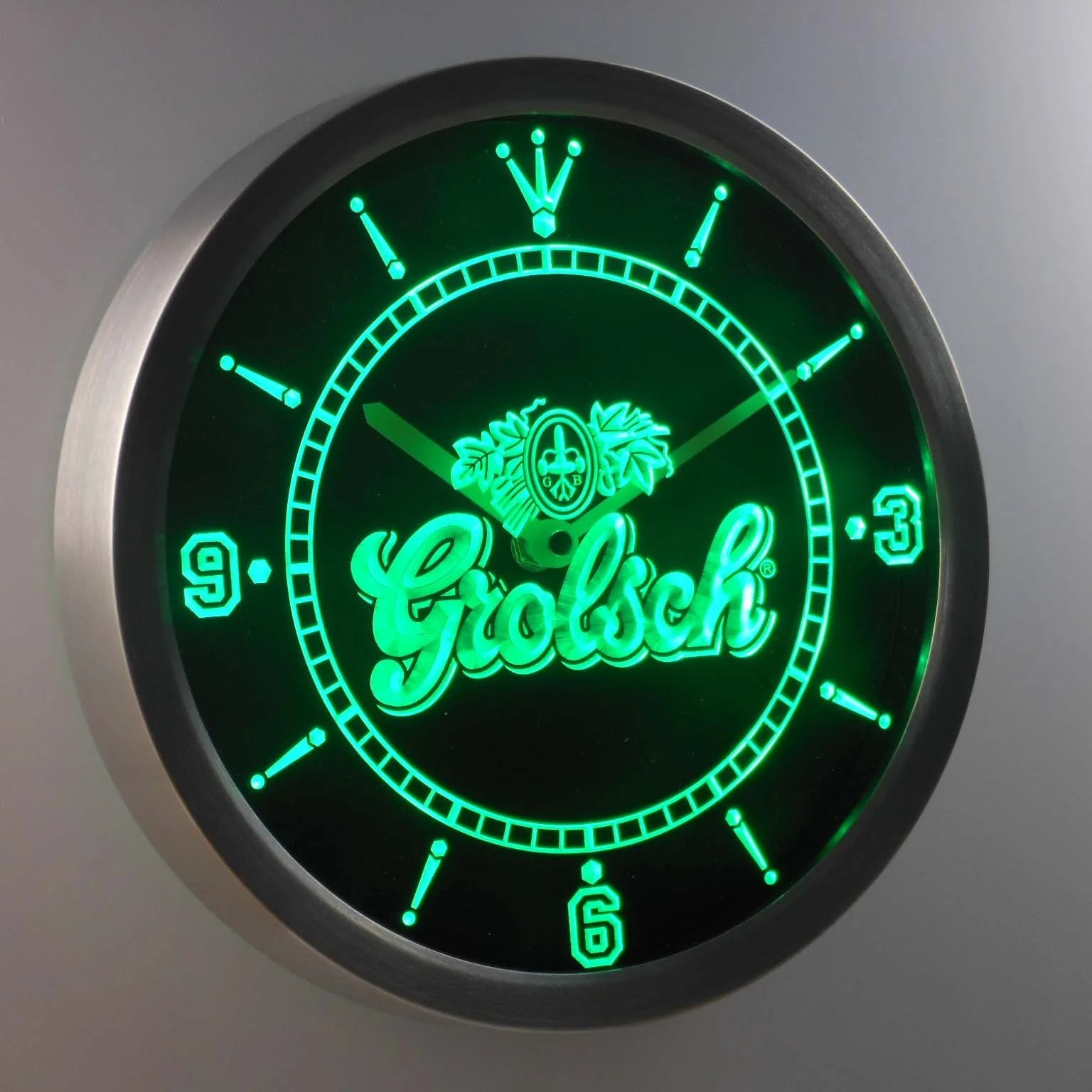 Dropshipping Decoration Grolsch Led Neon Wall Clock Safespecial