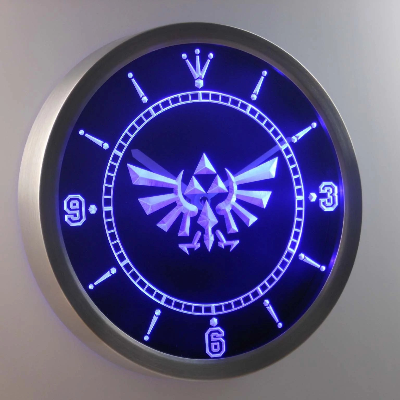 Unique Wall Clocks Cheap Legend Of Zelda Triforce Led Neon Wall Clock Safespecial