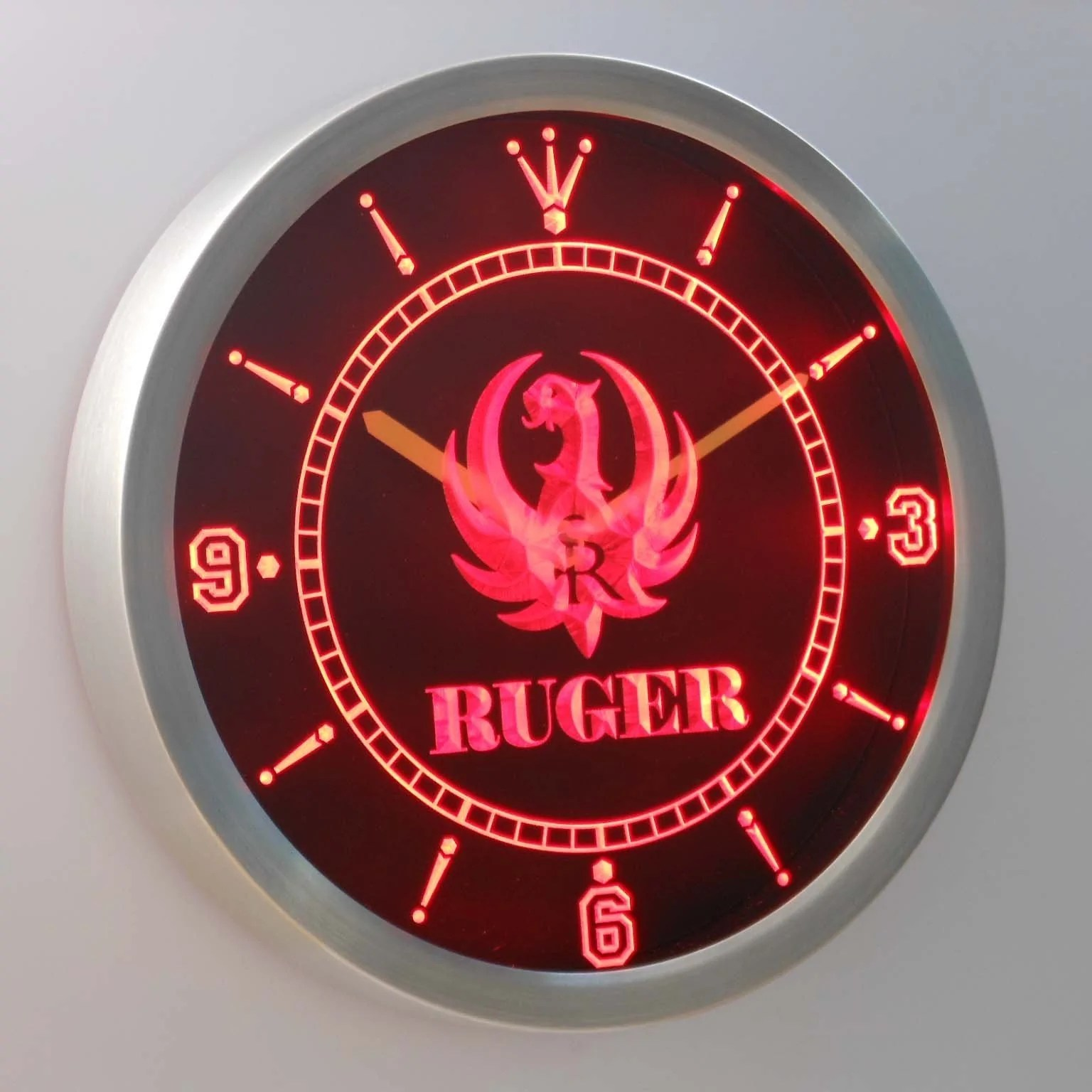 Dropshipping Decoration Ruger Led Neon Wall Clock Safespecial