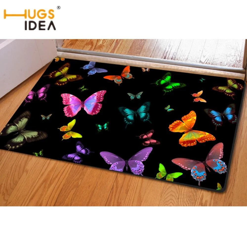 Alfombras Animal Print Buy Hugsidea Fashion Butterfly Printing Home Decorative Area Rugs For Bedroom Living Room Nonslip Door Floor Mat Carpets Alfombras 30 07 Icon2