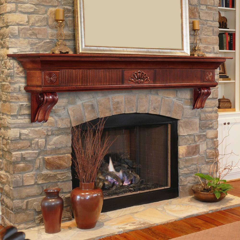 Cherry Fireplace Mantels Pearl Mantels Devonshire Wood Fireplace Mantel Shelf In Cherry Distressed Finish