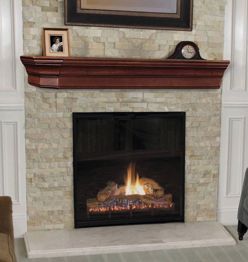 Cherry Fireplace Mantels Pearl Mantels Lindon Wood Fireplace Mantel Shelf In Cherry Distressed Finish