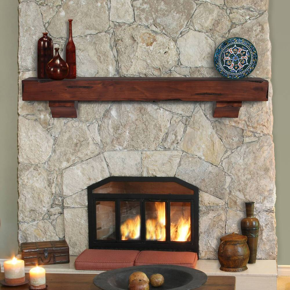 Cherry Fireplace Mantels Pearl Mantels Shenandoah Rustic Wood Fireplace Mantel Shelf In Cherry Distressed Finish