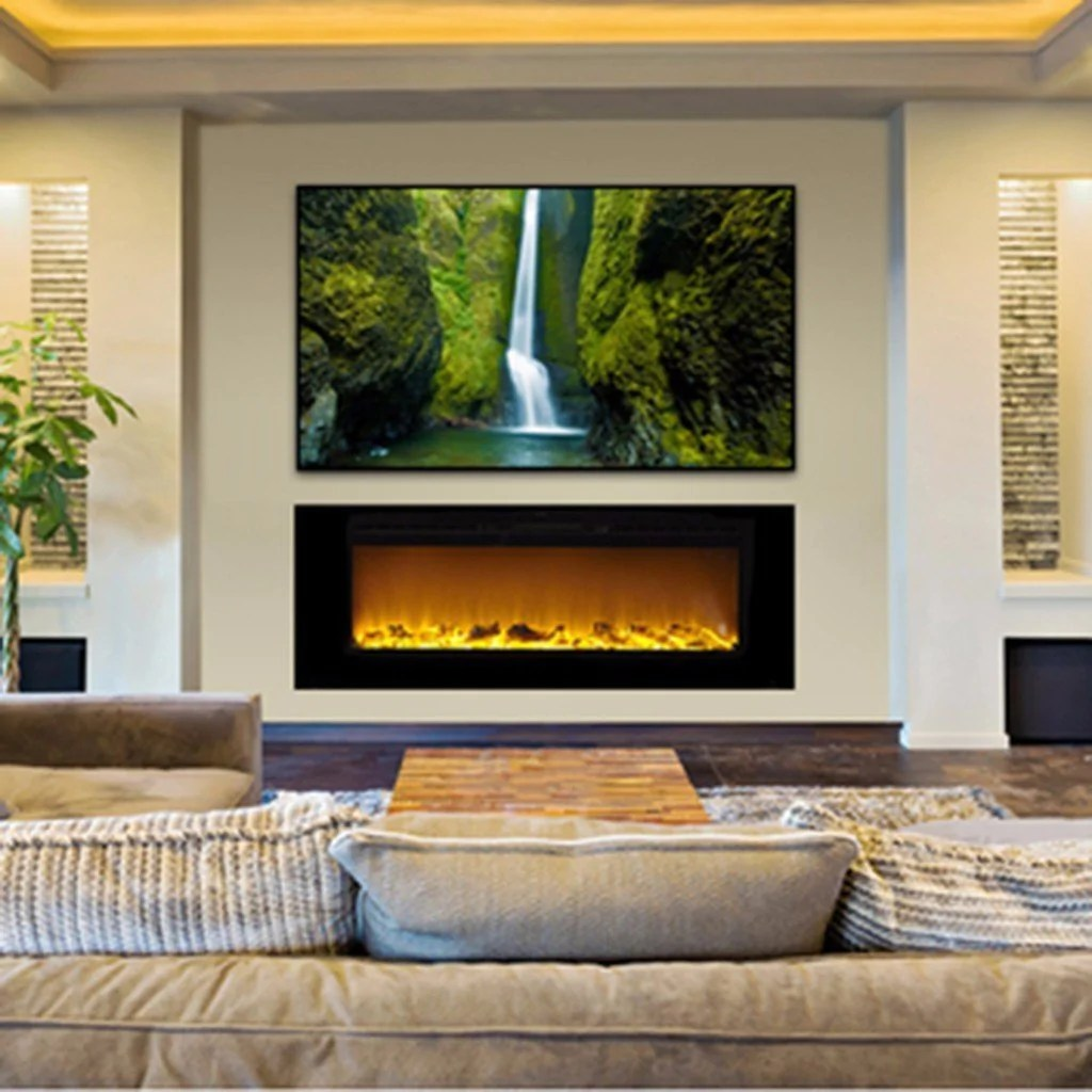 Living Room Electric Fireplace Touchstone Sideline Recessed 60 Inch Electric Fireplace In Black